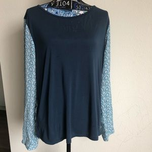 Ann Taylor Top Blue Print Long Sleeve High Low SzL